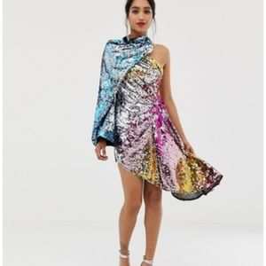 nwt ASOS edition asymmetric sequin dress us 6